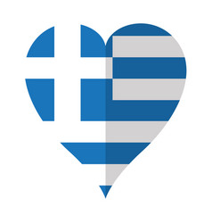 Isolated flag of greece on a heart shape vector
