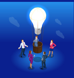 Isometric brainstorming and business meeting vector