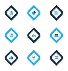 job icons colored set with statistics unity vector image