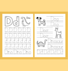 letter d tracing practice worksheet set learning vector image