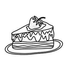 Line delicious cake with strawberry fruit in the vector