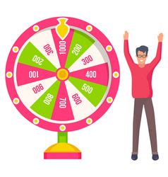 Lucky player playing gambling wheel casino vector