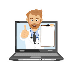 Male doctor having consultation online on laptop vector