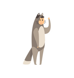 Man wearing grey cat animal costume person in vector