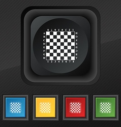 Modern Chess board icon symbol Set of five vector image