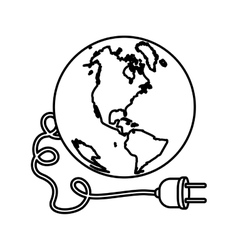 Monochrome silhouette with world and power cord vector