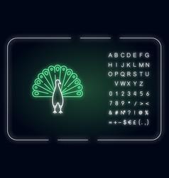 Peacock neon light icon vector