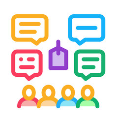 People discuss price icon outline vector
