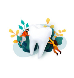 people flying around big tooth dental clinic vector image