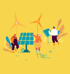 People use green energy concept clean electricity vector