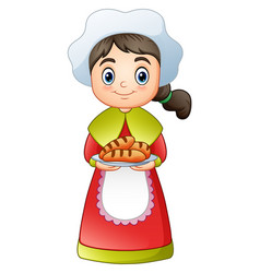 Pilgrim girl carrying a delicious bread vector