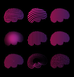 pink brain silhouettes set vector image