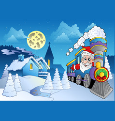 santa on train near small village vector image