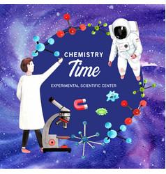 Science wreath design with scientist astronaut vector