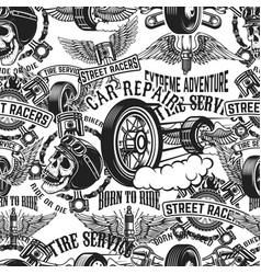 seamless pattern with auto repair design elements vector image