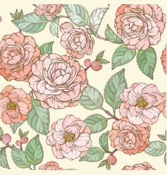 seamless pattern with camellia flowers pastel vector image