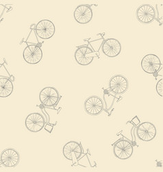 Seamless pattern with hand drawn bicycles modern vector