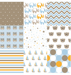 set of baby boy patterns seamless pattern vector image