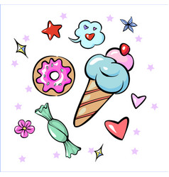 Set of fun trendy sweets heart star icecream candy vector
