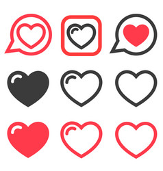 set red and black heart icons vector image