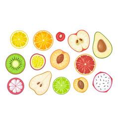 set slice fruits color flat vector image