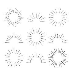 set vintage sunbursts in different shapes vector image