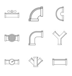 Sewer pipes icon set outline style vector