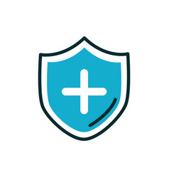 Shield cross medical icon line fill vector