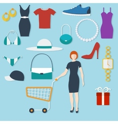 Shopping concept with flat icons and women with vector image