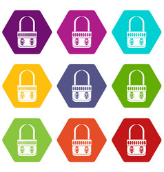 shoulder bag icon set color hexahedron vector image