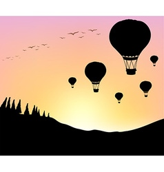 Silhouette balloons in the sky vector