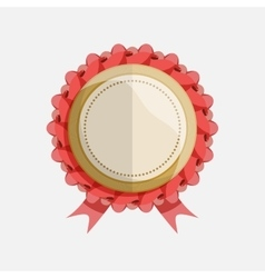 simple flat badge with red ribbon vector image