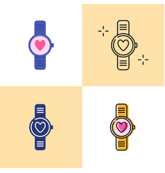 smart watch with heart icon set in flat and line vector image