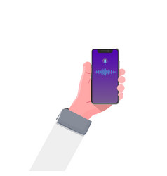 smartphone hand voice assistant modern flat vector image
