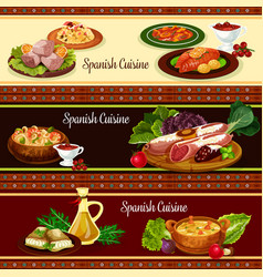 Spanish cuisine meat and seafood dish banner set vector