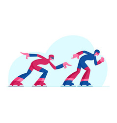 Sportsman and sportswoman speed skaters vector