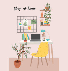 stay at home workplace at home vector image