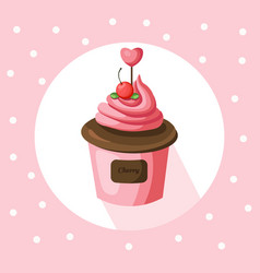 Strawberry cupcake muffin vector