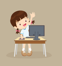 Student girl learning computer hand up vector