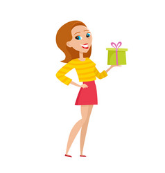 stylish hipster girl offering christmas gift in vector image