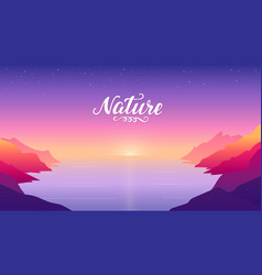 sunset on beach surrounded by mountains vector image