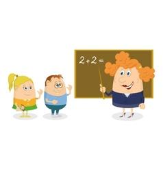 Teacher woman with kids vector