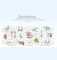 thin line gardening poster banner template vector image