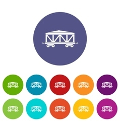 Train cargo wagon set icons vector