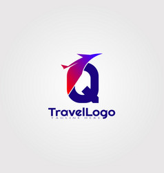 Travel agent logo design with initials q letter vector