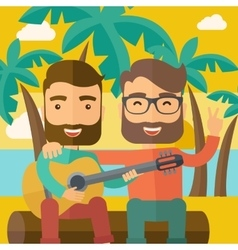 Two men playing a guitar at the beach vector image
