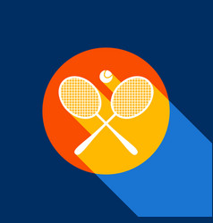 two tennis racket with ball sign white vector image