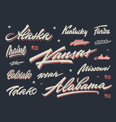 Usa states lettering vector