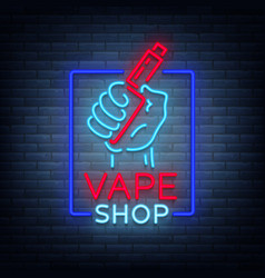 vape shop neon icon logo isolated vector image