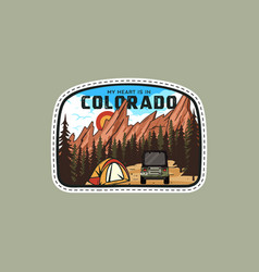 vintage adventure badge patch with mountains tent vector image